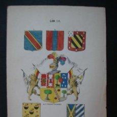 Arte: LITOGRAFÍA SIGLO XIX. HERÁLDICA. ESCUDOS DE D. FERNANDO DE GISPERT, CALDERON, VILLAVERDE. . Lote 24780170