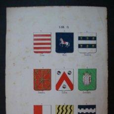 Arte: LITOGRAFÍA SIGLO XIX. HERÁLDICA. ESCUDOS DE SOSA, MIRÓ, ROSELLON, NAVARRA, GUIERA, AVEDAÑO,..... Lote 24780554