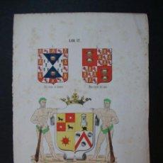 Arte: LITOGRAFÍA SIGLO XIX. HERÁLDICA. ESCUDO DE GUZMAN EL BUENO, MANRIQUE DE LARA, EXMO MARQUES DE OVIEDO. Lote 24780716