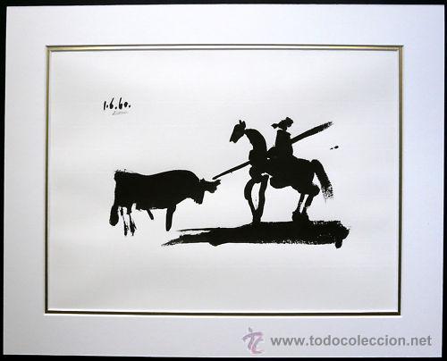 PICASSO / TOROS Y TOREROS. LITOGRAFÍA FIRMADA FECHADA EN PLANCHA. ED. LIMITADA. 40 X 50 CM. A ESTREN (Arte - Litografías)