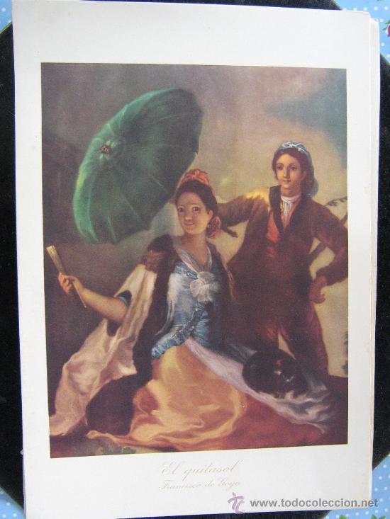 ANTIGUA LITOGRAFIA PINTURA EL QUITA SOL FRANCISCO DE GOYA 33X21 CNT MUSEO DEL PRADO HOJA ESPLICATIBA (Arte - Litografías)