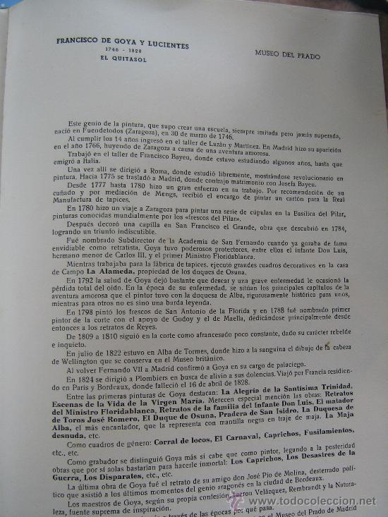 Arte: antigua litografia pintura el quita sol francisco de goya 33X21 cnt museo del prado hoja esplicatiba - Foto 2 - 29009560