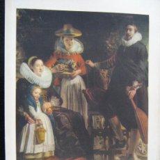 Arte: ANTIGUA LITOGRAFIA PINTURA FAMILIA EN UN JARDIN JORDAENS 33X21 CNT MUSEO DEL PRADO HOJA ESPLICATIBA. Lote 29010112