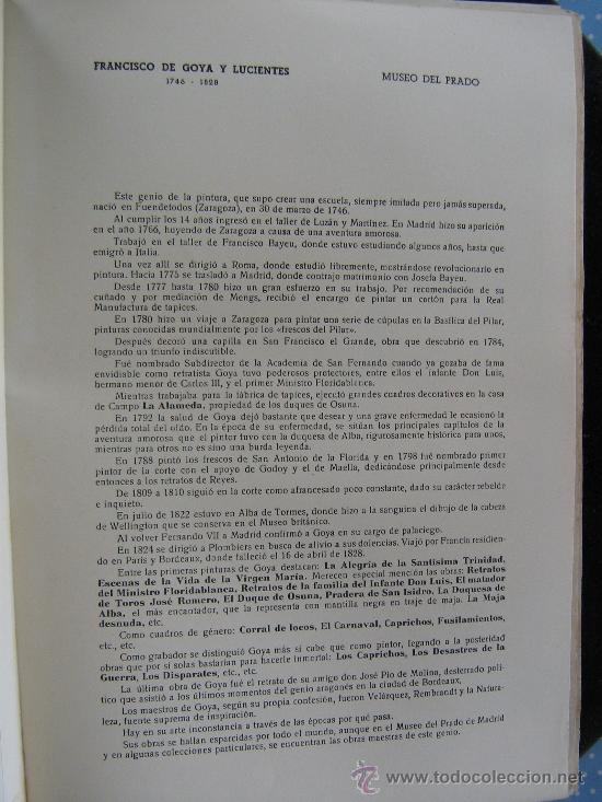 Arte: antigua litografia pitura las gigantillas f-goya 33X21 cnt museo del prado hoja esplicatiba - Foto 2 - 29010468