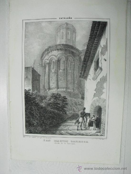 1847 APSIDE (SIC) DE LA PARROQUIA DE SAN MARTIN ZARROCA F.J.PARCERISA (Arte - Litografías)