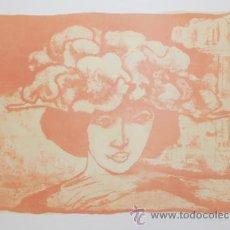Arte: HILDA CASTELLÓN MUJER CON SOMBRERO LITOGRAFÍA ORIGINAL FIRMADAY NUMERADA A LÁPIZ 39/50 PAPEL ARCHES. Lote 29116596