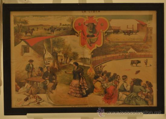 BONITA LITOGRAFIA - EN EL CAMPO Y EN LA PLAZA (TOROS) - FINALES SIGLO XIX - LA LIDIA (Arte - Litografías)