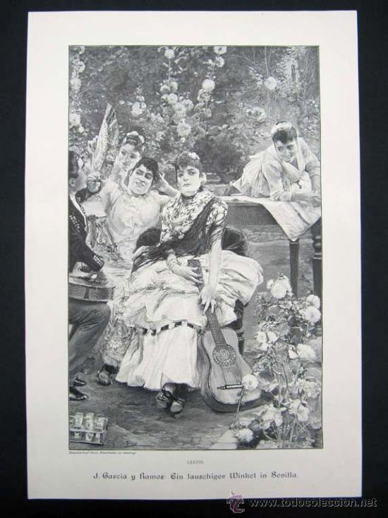 LITOGRAFIA GRUPO DE SEVILLANAS J. GARCIA Y RAMOS (Arte - Litografías)