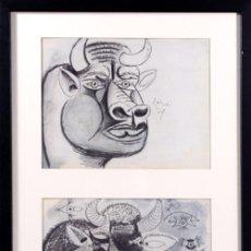 Arte: PICASSO / ESTUDIOS PARA EL GUERNICA . CABEZAS DE TORO .ENMARCADO.EDICIÓN 6000 EJEM. FECHADO PLANCHA. Lote 30076351