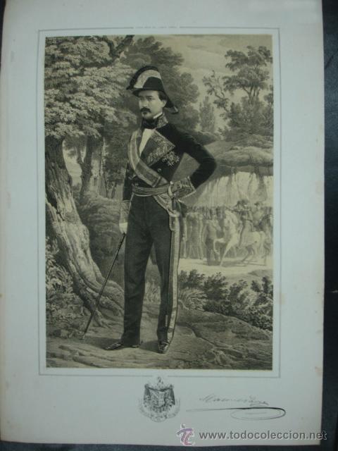 MILITAR. ESTADO MAYOR DEL EJERCITO ESPAÑOL. MANUEL PAVÍA. MARQUÉS DE NOVALICHES. 45 X 31 CM. (Arte - Litografías)