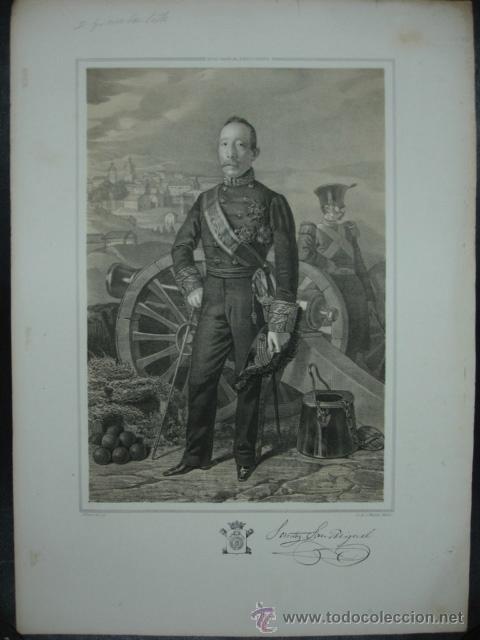 MILITAR. ESTADO MAYOR DEL EJERCITO ESPAÑOL. SANTOS SANMIGUEL. INVICTA BILBAO. 45 X 32 CM. (Arte - Litografías)