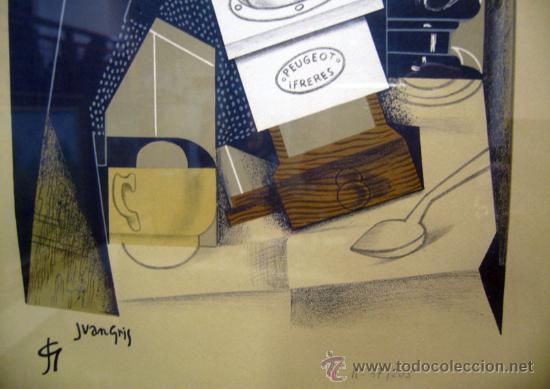 Arte: JUAN GRIS, Molinillo de café y vaso sobre una mesa edición limitada firmada y numerada - Foto 3 - 30211074