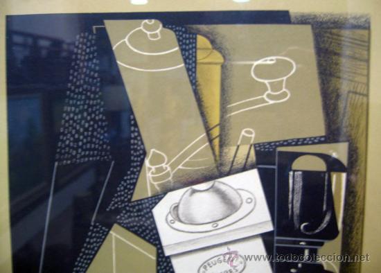 Arte: JUAN GRIS, Molinillo de café y vaso sobre una mesa edición limitada firmada y numerada - Foto 4 - 30211074