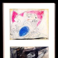 Art: PICASSO / ESTUDIOS PARA EL GUERNICA .MUJERES ATERRORIZADAS Y BOMBA .ENMARCADO .FECHADOS.ED 6000 EJEM. Lote 30217183