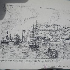 Arte: DIBUJO ENTRADA BAHIA CUBA L.CAO. Lote 31580777