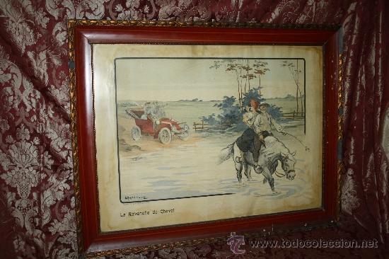 K3-015. DIVERTIDA LITOGRAFÍA FIRMADA ARMENGOL 'LA REVANCHE DU CHEVAL' PARIS CIRCA 1915 (Arte - Litografías)