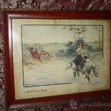 Arte: K3-015. DIVERTIDA LITOGRAFÍA FIRMADA ARMENGOL 'LA REVANCHE DU CHEVAL' PARIS CIRCA 1915. Lote 32392817