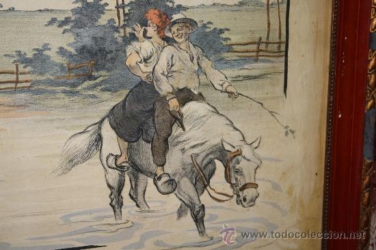 Arte: K3-015. DIVERTIDA LITOGRAFÍA FIRMADA ARMENGOL LA REVANCHE DU CHEVAL PARIS CIRCA 1915 - Foto 3 - 32392817