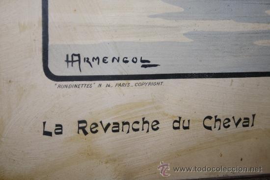 Arte: K3-015. DIVERTIDA LITOGRAFÍA FIRMADA ARMENGOL LA REVANCHE DU CHEVAL PARIS CIRCA 1915 - Foto 5 - 32392817