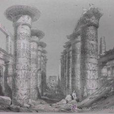 Arte: GRAN SALA HIPÓSTILA DEL TEMPLO DE KARNAK (EGIPTO), J.H.ALLAN, 1843. Lote 34945923