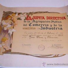 Arte: ANTONI UTRILLO. LITOGRAFIA ORIGINAL. DIPLOMA AGRUPACIÓN MUTUOA DEL COMERCIO Y DE LA INDUSTRIA. Lote 35809113
