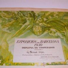 Arte: LITOGRAFIA ORIGINAL LABARTA. DIPLOMA EXPOSICIÓ BARCELONA 1930. Lote 35809179