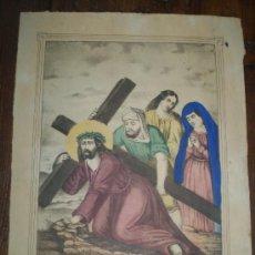 Arte: LITOGRAFIA S XIX PINTADA A MANO N.P.JESUS LAS TRES CAIDAS. Lote 36338388