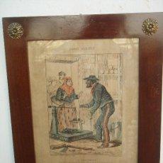 Arte: LITOGRAFÍA ENMARCADA EN CAOBA Y CON CRISTAL PROTECTOR. S. XIX. IMP. BAROUSSE, PARÍS. 41X33,5 CMS.. Lote 36749655