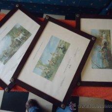 Arte: 3 MAGNIFICOS GRABADOS LITOGRAFIAS ENMARCADOS ORIGINALES FOX HUNTING PLETE 1.3 Y 4. Lote 47941059