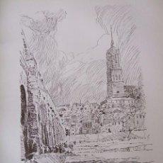 Arte: SALAMANCA PUENTE Y VISTA LITOGRAFIA 1925 VISTA ARTISTA INGLES G. EDWARDS FIRMADA. Lote 37178676
