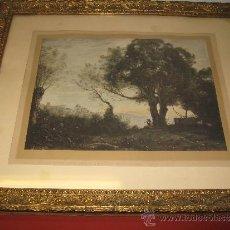 Arte: ANTIGUA LITROGRAFIA ENMARCADA - CUADRO COROT - CASTEL GANDOLFO -PAPEL. Lote 38012208