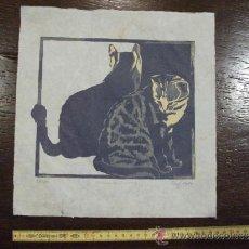 Arte: LITOGRAFIA DE ARTISTA DE 1989 FIRMA ILEGIBLE, NUMERADO Y SERIADO CON GATO, 2 GATOS 28 CM ANCHURA. Lote 38270390