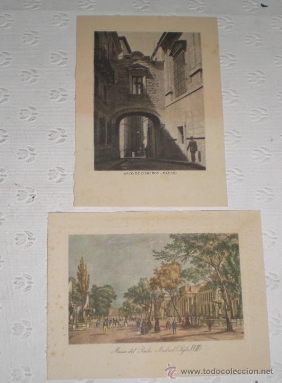 PAREJA DE 2 MINI LITOGRAFÍA - GRABADO DE MADRID. ARCO DE CISNEROS Y MUSEO DEL PRADO SIGLO XVIII. (Arte - Litografías)