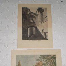 Arte: PAREJA DE 2 MINI LITOGRAFÍA - GRABADO DE MADRID. ARCO DE CISNEROS Y MUSEO DEL PRADO SIGLO XVIII.. Lote 38508961