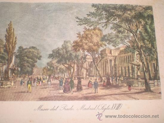 Arte: Pareja de 2 mini litografía - grabado de Madrid. Arco de Cisneros y Museo del Prado Siglo XVIII. - Foto 2 - 38508961
