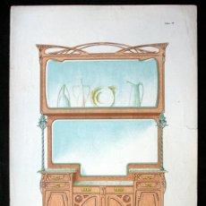 Arte: LITOGRAFIA COLOR - GRAN BUFET-VITRINA - MODERNISTA - C1900 - 40X28CM - ESCALA 1: 10 . EBANISTERÍA. Lote 40156733