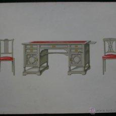 Arte: LITOGRAFIA COLOR - MESA MINISTRO Y SILLAS - C1900 - 40X28CM - ESCALA 1: 10 . EBANISTERÍA. Lote 40156886