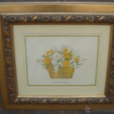 Arte: LITOGRAFÍA -WHITE HOUSE FLOWER ARRANGEMENT-. ENMARCADA Y CON CRISTAL PROTECTOR. 56.5X49.5 CMS.. Lote 40269405