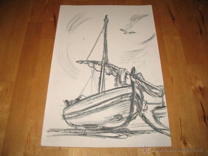 Obra De Arte Litografía Barco Pesquero Varado E Buy Lithographs At