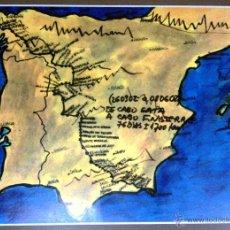 Arte: LITOGRAFÍA DE LA RUTA DE CABO DE GATA A CABO FINISTERRE. EN CARTULINA GRUESA. ORIGINAL!!!. Lote 42116076