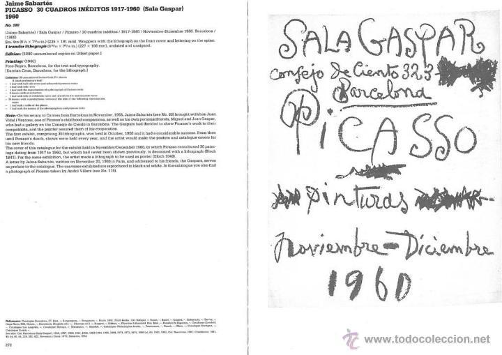 Arte: Picasso catálogo exposición, litografía original en cubierta 1960 Sala Gaspar Cramer 109 Bloch 1841 - Foto 3 - 42268838