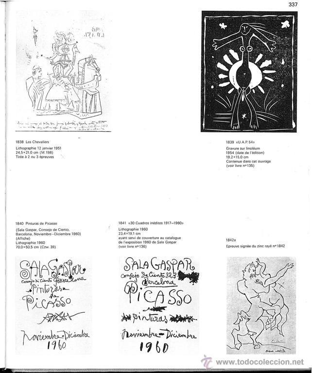 Arte: Picasso catálogo exposición, litografía original en cubierta 1960 Sala Gaspar Cramer 109 Bloch 1841 - Foto 4 - 42268838