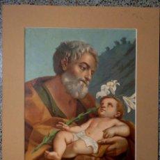 Arte: PRECIOSA LITOGRAFÍA DE SAN JOSÉ Y EL NIÑO.. Lote 42440620