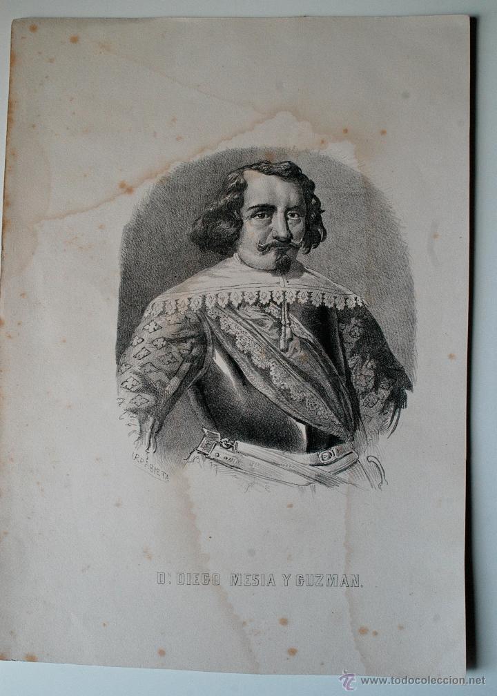 LITOGRAFIA DEL SIGLO XIX DE DON DIEGO MESIA Y GUZMAN (LITOGRAFIA URRABIETA) (Arte - Litografías)