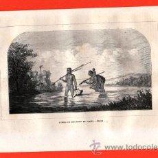 Arte: LITOGRAFIA/GRABADO - BRASIL - FAMILIA DE BOTACUDYS EN CAMINO - VIAJERO UNIVERSAL - AÑO 1861 -. Lote 43589245