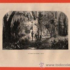 Arte: LITOGRAFIA/GRABADO - BRASIL - UNA FAMILIA DE PATACHOS - VIAJERO UNIVERSAL - AÑO 1861 -. Lote 43589318