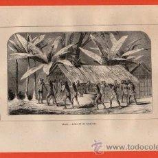 Arte: LITOGRAFIA/GRABADO - BRASIL - DANZA DE LOS CAMACANES - VIAJERO UNIVERSAL - AÑO 1861 -. Lote 43589076