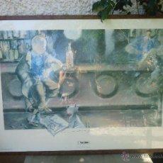 Arte: GRAN LAMINA DE TINTIN EDICIÓN LIMITADA POR ESTEVE FORT. POSTER DE TINTÍN LEER TIENE FALTAS. Lote 109272462