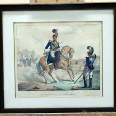Arte: LITOGRAFÍA ILUMINADA CORACEROS GUARDIA REAL MADRID ESTAMPA MADRID 1830. Lote 45067208