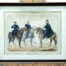 Arte: LITOGRAFÍA ILUMINADA CARABINEROS DEL REINO CABALLERÍA E VARELA LITÓGRAFO MADRID 1830. Lote 45067284